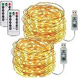 2 Pezzi Stringa Luci LED USB-10M/33FT Catene Luminose 100LED Luci Natalizie Impermeabile Decorative per Camere da Letto Giard