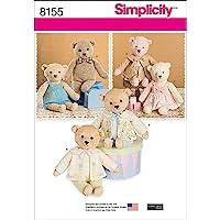 Simplicity 8155 Ours en Peluche avec Patrons vêtements Couture, Blanc