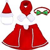 Animale Domestico Regolabile Natale Cappello Santa, Mantello, Sciarpa e Collare Cravatta Papillon Costume di Natale per Cucci