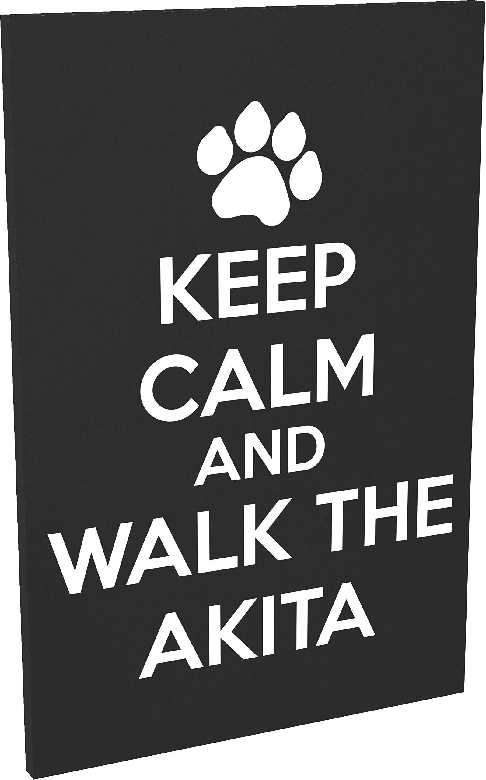 Hippowarehouse Keep calm and walk the akita – dog printed Fridge Magnet Hardboard 50.8mm x 76.2mm