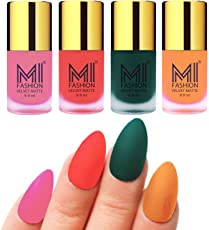 Mi Fashion Velvet Dull Matte Nail Polish, Baby Pink, Orange, Dark Green Polish, Saffron Orange Color, 39.6ml (4 Pieces)