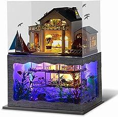 iBaste Hawaii Stil DIY Puppenstube mit Miniatur Möbel, Puppenhaus Miniatur Puppenhaus Moebel DIY Dollhouse Kit Kinder Geschenk mit Led Licht