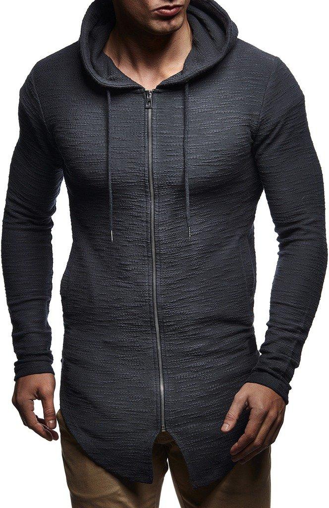 Maglietta da uomo a maniche lunghe da allenamento Leif Nelson LN8342 slim fit per bodybuilding con cappuccio