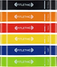 Fitlethic Exercise Resistance Workout Mini Loop Bands and Mesh Carrying Bag for Home Fitness, Stretching, Physical Therapy, Yoga - Pack of 6