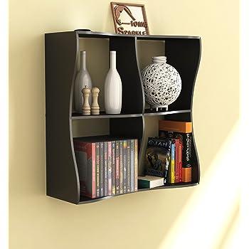 Home Sparkle Wooden Wave Book Shelf (Black)