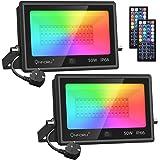 Onforu Lot de 2 Projecteur LED RGB 50W, Multicolore Projecteurs Éxtérieur IP66 Etanche avec Télécommande, 20 Couleurs 6 Modes