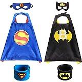 2Pcs Capa de Superhéroe para Niños - 2 Capa y 2 Máscaras 2 Pulsera de silicona -Halloween Ideas Kit de Valor de Cosplay de Di