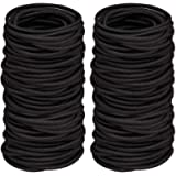 100 PCS Elastic Hair Bands, 2mm Elastic Hair Ties Ponytail Holders, Bulk Hair Ties No Metal Gentle Elastics for Women…
