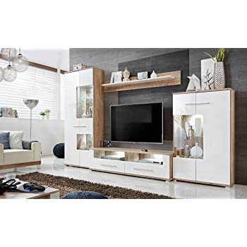 Anbauwand Wohnzimmer Schrankwand Möbelset Wohnwand Tv Lowboard
