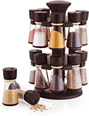 STAR WORK Plastic Revolving Spice Rack Set, 120ml, 16 Jar Spice/Masala Rack/Masala Box/Spice Rack, 10 IN (SWSRSO16, Multicolour)