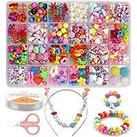 Kits de Bijoux Bricolage Perles pour Enfants,24 Types DIY Perles Set 540 Pcs Kit de Loisirs Créatifs Activite Enfant…