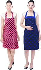 Switchon Waterproof Cotton Kitchen Apron (Multicolour, 30x23inch)- Pack of 2