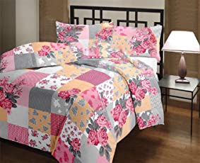 GINI Home Floral with Checkered Printed Reversible Poly Cotton AC Dohar/Comfort/Blanket/Quilt