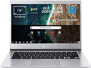 "Acer Chromebook 514 CB514-1H-C0N4 Notebook Portatile, Intel Celeron Quad Core N3450, RAM 4 GB DDR4, eMMC 64 GB, Display 14"" IPS Full HD LED LCD, Intel HD 500, PC Portatile, Google Chrome, Silver"