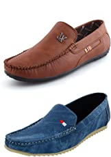 LeatherKraft Men's Synthetic Loafers Combo - Set of 2