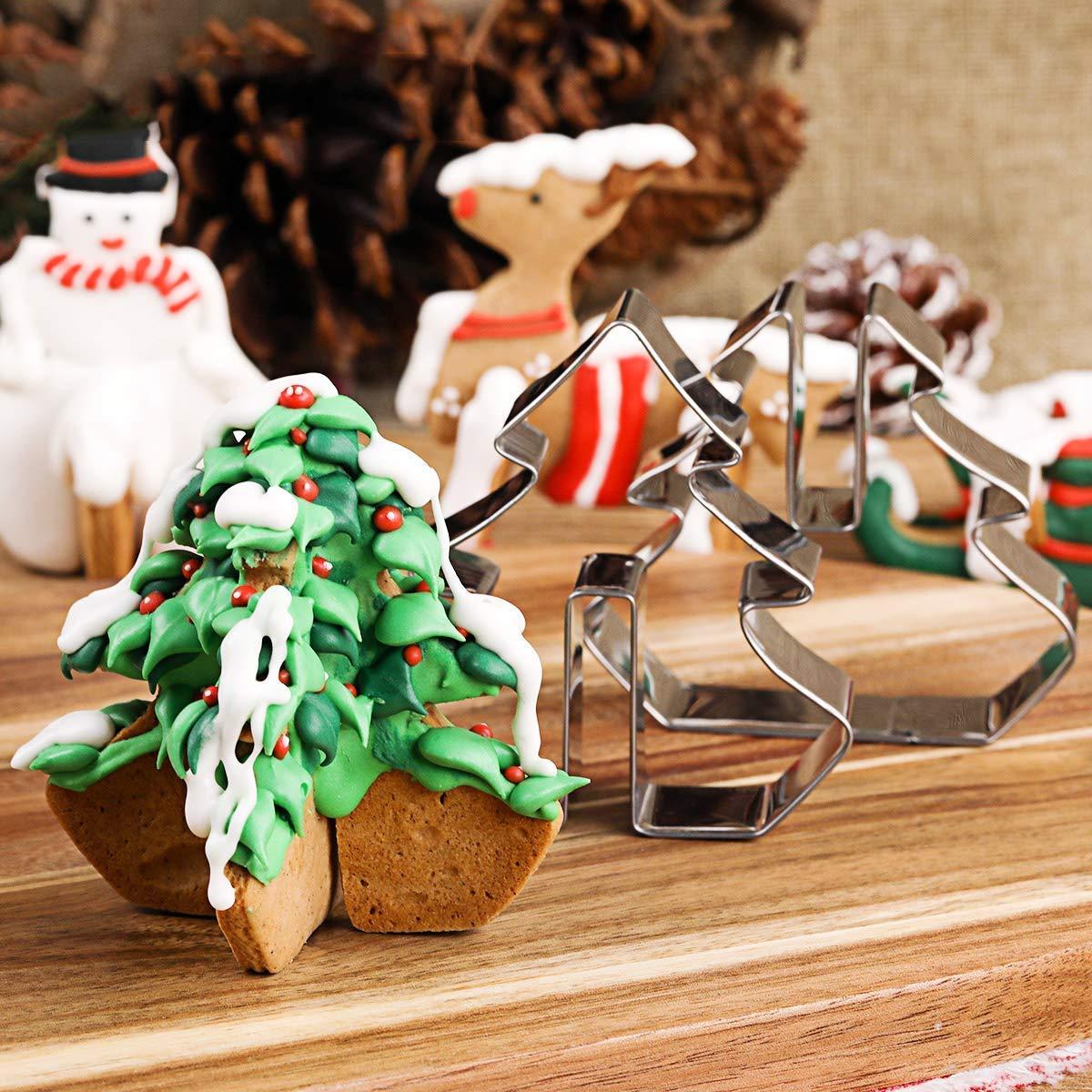 Biscotti Albero Di Natale 3d.Set Di 8 Formine Per Biscotti Di Natale 3d In Acciaio Inox Stampini Per Biscotti Fatti In Casa Per Bambini Motivi Albero Di Natale Pupazzo Di
