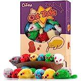 Chiwava 36 Piezas 10,5 cm Juguetes para Gatos Peludo Ratones sonajero pequeño Ratón Gato Gatito Interactivo, Colores Variados