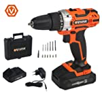 Vollplus Lithium-ion 18V Cordless Drills Driver with 13Pcs Accessories for DIY VPCD2121
