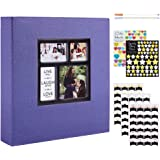 Benjia Album Photo Traditionnel Adhesif, Grand Format Vierge Autoadhesif Tissu avec Autocollant Stylo pour 10x15 11.5x15 13x1