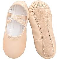 Scarpe da Danza in Pelle Classica Scarpe da Ballerina con Suola Intera in Cuoio Ginnastica Ballo Pantofole per Bambina…