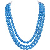 Ratnavali Jewels Three Layer Real Pink Blue Yellow Orange Onyx Stone Beads Necklace for Women and Girls RV3415