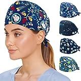 Reesibi 4 Gorros de Quirofano para Hombre Mujer, Gorros Ajustables Cap Hat Turbante Pelo Sombrero Trabajo Fines Múltiples, Es