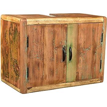 Woodkings Bad Waschbeckenunterschrank Kalkutta Recyceltes Holz Bunt Rustikal Hangebad Waschtischunterschrank Hangend Badmobel Badezimmer