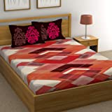 HUESLAND by Ahmedabad Cotton 144 TC 100% Cotton Double Bed Sheet with 2 Pillow Covers – 90 x 96 inches, Red, Brown…