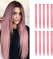 TOFAFA 22 inch Colored Hair Extensions straight Hairpiece,Multi-colors Party Highlights Clip in Synthetic Hair Extensions (1