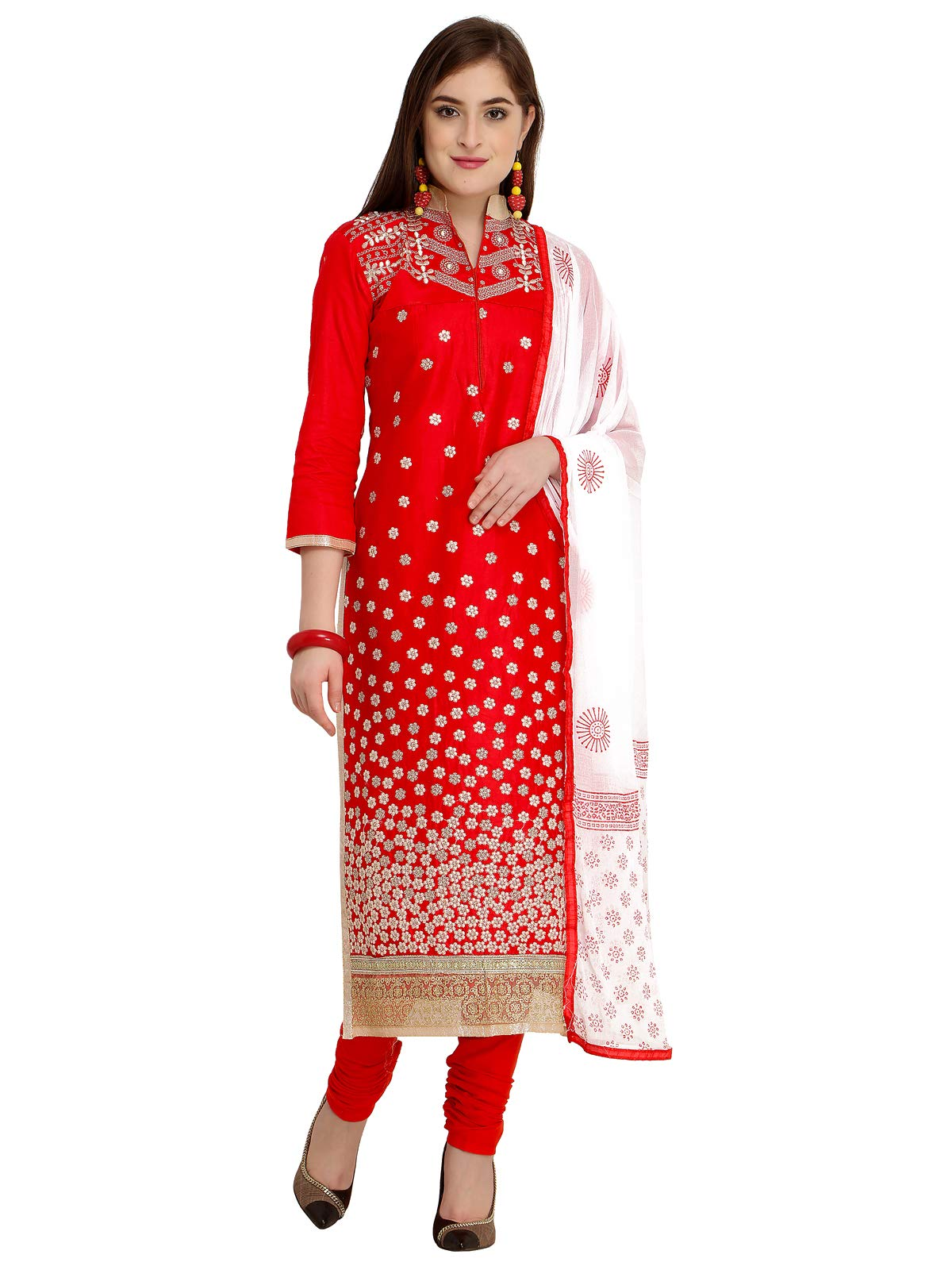 Kanchnar Women's Red Cotton Satin Embroidery Dress Material