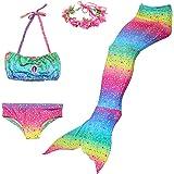 Romance Zone Cola de Sirena para Natación 5pcs Traje de Baño Mermaid Bikini Establece Disfraz de Sirena para Niña Princesa Co