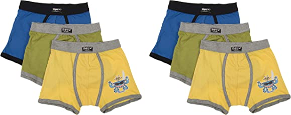 DORA Boys Cotton Cute Lycra Waistband Trunks Style-1508 (Pack of 6) Color May Vary