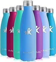 KollyKolla Bottiglia Acqua in Acciaio Inox - 350/500/650/750ml, Senza BPA, Borraccia Termica Isolamento Sottovuoto a Doppia P