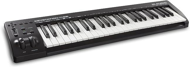 M-Audio Keystation 49 MKIII Kompakter 49-Tasten MIDI Keyboard Controller mit zuweisbaren Reglern, Pitch/Modulation Rädern, Plug-And-Play (Mac/PC) Konnektivität und Software Production Suite