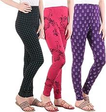 Diaz Women's Cotton Combo Of 3 Leggings (Black, Pink, Purple_Free Size)