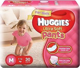 Huggies Ultra Soft Pants Medium Size Premium Diapers for Girls (30 Counts)