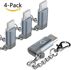 USB C Adapter Typ C Adapter, Gratein 4 Stücke Premium Aluminium Typ c auf micro usb Adapter für MacBook Pro, ChromeBook Pixel, Nexus 5X, Nexus 6P, HTC 10, OnePlus 2 und weiteres Typ C Geräte - Grau