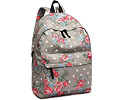 Kono Women Casual Daypack Backpack for Teenagers Students Girls Rucksack All-Over Flowers Polka Dots Printed Canvas School Ba