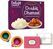 Delight Foods Double Dhamaal Combo 400g | Mini Rosogolla (Rasgulla) (200g) & Mini Gulab Jamun (200g) + 2 Artisan Diyas + Diwali Greeting Card | Indian Sweets | Gift Pack | (Diwali)