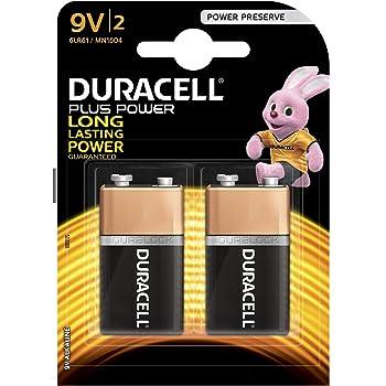 Duracell Plus Power Type 9 V Alkaline Batteries, Pack of 2
