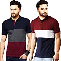 Leotude Men's Regular Fit Polo Multi Color T-Shirt (Pack of 2)