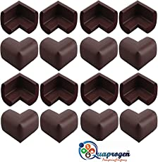 Quaprogen Right Angle Kids Soft Anti Crash Bumper Desk Table Edge Corner Protector Sticker Cushion Pad (Brown) - Pack of 16
