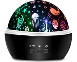 Moredig - Lampara Nocturna Infantil, 2 en 1, Proyector Estrella/Océano 360°, 8 Colores, Lámpara de Noche para Bebé, Guardería