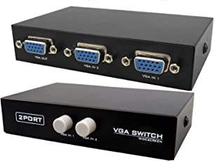 Pruthvik2 Port Manual VGA Splitter -for two PC to share one monitor and speaker system