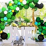 Magichui 131Pcs Selva Fiesta de Cumpleaños Decoración Niño Globos de látex Safari Bosque Animal Globos para Fiesta de Cumplea