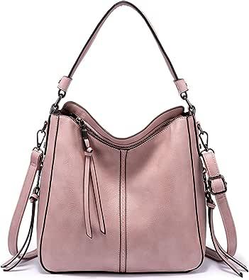 Realer Handtaschen Damen Lederimitat Umhängetasche Designer Taschen Hobo Taschen Mittel mit Quasten Rosa