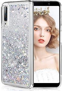 DasKAn Strass Paillettes Coque Samsung Galaxy A7 2018,Bling Bling Placage Cadre Color/é Ultra Mince Souple Fine Silicone Housse de Protection Arri/ère Antichoc Gel TPU /Étui de T/él/éphone,Bleu