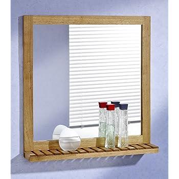 Relaxdays Wandspiegel Bambus Badspiegel Mit Ablage Spiegel Zum