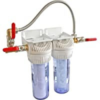 AQUAWATER - 104175 - Station filtre double avec cartouches de filtration et anticalcaire - Durée des cartouches : 12…