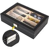 MVPOWER Étui Lunettes Boîte de Lunette Boîte de Rangement Coffret à Bijoux Présentoir en Cuir (Huit Pieces)